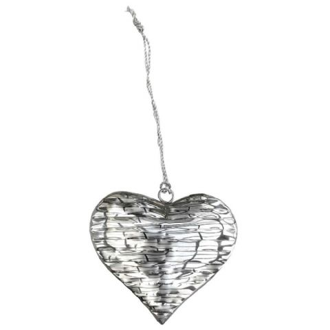 Textured Silver Metal Hanging Heart Large